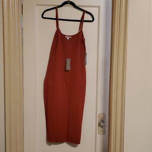 Burnt orange skinny strap dress